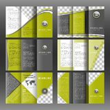 Set of corporate trifold brochure templates design. With world map infographic element and place for photo. Royalty Free Stock Photos