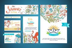 Set of corporate underwater ocean life templates. Vector hand-drawn elements. A4 paper, business cards, banners. Turtle and octopus, fish and starfish, crab and Stock Photo