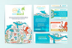 Set of corporate wild sealife templates. Royalty Free Stock Image