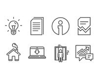 Corrupted file, Idea and Elevator icons. Internet downloading, Copy files and Accounting signs. Set of Corrupted file, Idea and Elevator icons. Internet Royalty Free Stock Images