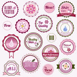 Set of cosmetic badges, labels and stickers Royalty Free Stock Photos