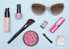 Set of cosmetic bag essentials for urban life Royalty Free Stock Image