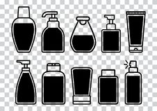 Set of cosmetic bottle icons with liquid. Vector illustration vector illustration