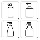 Set of cosmetic bottle icons. Vector illustration stock illustration