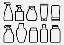 Set of cosmetic bottle icons, outline design. Vector stock illustration
