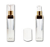 Set of cosmetic bottles. Close and open isolated on the white background Stock Images