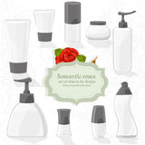 Set cosmetic bottles of different shapes Royalty Free Stock Image