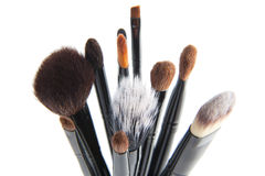 Makeup brushes on a white background Stock Images