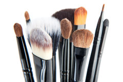 Makeup brushes on a white background Royalty Free Stock Images
