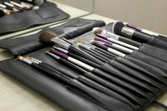 Set of cosmetic brushes in a black leather case stock photography