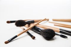 Set of cosmetic brushes on a white background Stock Photography
