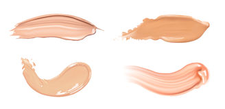 Set of cosmetic liquid foundation or caramel cream in different colour smudge smear strokes. Make up smears isolated on Stock Image