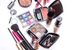 Set of cosmetic makeup products Stock Images