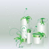 Set of cosmetic packs with green leaves Royalty Free Stock Images