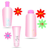 Set of cosmetic products in bottles for children Stock Images