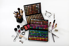 Set of cosmetics and accessories on white background Royalty Free Stock Photos