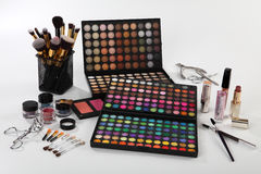Set of cosmetics and accessories on white background Stock Photography