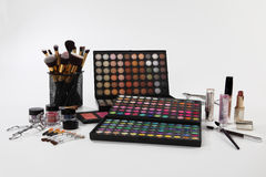 Set of cosmetics and accessories on white background Stock Image