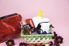 A set of cosmetics as a gift to the woman. A gift for March 8, the day of lovers or birthday stock photos