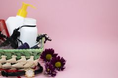 A set of cosmetics as a gift to the woman. A gift for March 8, the day of lovers or birthday stock image