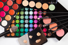 Set of cosmetics. Background showing different sets of colorful cosmetics and makeup Stock Photos