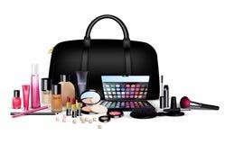 Set of cosmetics on  background. Stylish girl Royalty Free Stock Photos