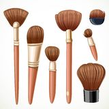 Set of cosmetics brushes  on a white Stock Photography