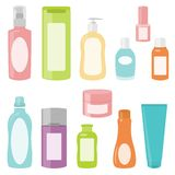 Set 2 of cosmetics containers Stock Photos