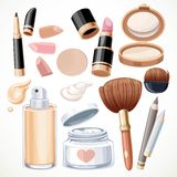 Set of cosmetics cream, face powder, lipstick, brush Royalty Free Stock Photos