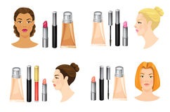 Set of cosmetics for different skin tone. Woman face isolated on white background. Set of cosmetics for different skin tone and hair Stock Photography