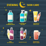 Set of cosmetics for evening skin care. Infographics on the steps of skin care with medical cosmetics. Face cream, tonic Stock Photography