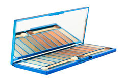 Set of cosmetics eyeshadows with mirror Royalty Free Stock Images