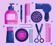 Set of cosmetics for the face and hair vector illustration