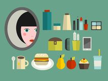 Set of cosmetics and food for the girl. Royalty Free Stock Photo
