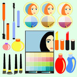 Set of cosmetics for girls, women. vector illustration Stock Image