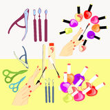 Set of cosmetics for hands and nails of girls, women. vector ill Stock Photos