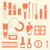 Set of cosmetics icons in flat style Stock Photography