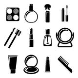 Set of cosmetics icons. Silhouettes Royalty Free Stock Images