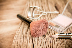 Set of cosmetics,Make-up and brushes,powder, puff, eyeliner Royalty Free Stock Photos