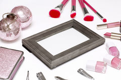 Set is of cosmetics for makeup. Royalty Free Stock Image