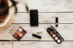 Set of cosmetics, makeup tools and accessories. stock images
