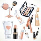 Set of cosmetics objects in beige color lipstick,nail polish Royalty Free Stock Photo