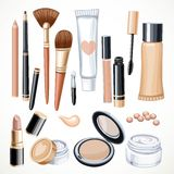 Set of cosmetics objects pencil, brush, blush, lipstick, mascara Royalty Free Stock Photos