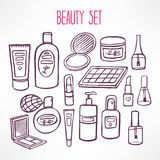 Set with cosmetics and products for body care Royalty Free Stock Photography