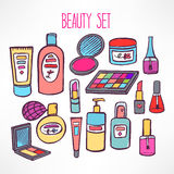 Set with cosmetics and products for body care - 2 Royalty Free Stock Photography
