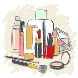 Set of cosmetics products for makeup. Drawing vector illustration Stock Photo