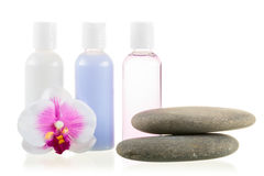 Set of cosmetics and stones for spa treatments Royalty Free Stock Photos