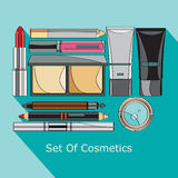 Set of cosmetics in style flat Stock Photo