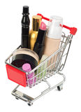 Set of cosmetics tubes in shopping cart Royalty Free Stock Photography