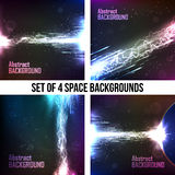 Set of 4 cosmic background, energy flow Stock Images